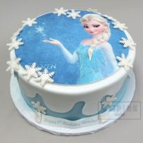 Elsa from Frozen with Fondant Snow (edible print)