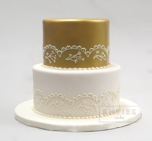 Gold Lace Empire Cake