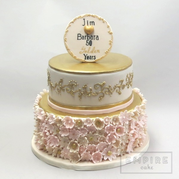 Pink Gold Fiftieth With Wm Empire Cake