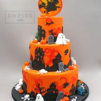 Halloween Three Tier with Witch Topper