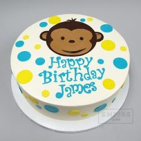 Monkey & Polka Dots with Fondant Letters