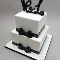 Black Tie with Monogram (two tier)