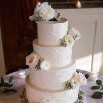 Textured Buttercream & Fresh Flowers (four tier)