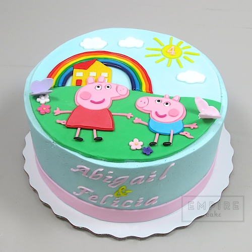 Peppa Pig With Rainbow Empire Cake