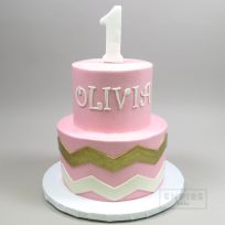 Pink with Gold Chevron & Number Topper