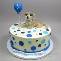 Dog with Balloon & Polka Dots