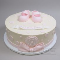 Pink Booties and Bow (single tier)