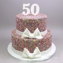 Sprinkles with Bow and Number Topper (two tier)