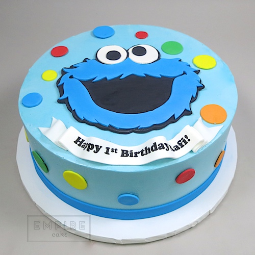 Surprising Cookie Monster Flat Fondant Empire Cake Funny Birthday Cards Online Elaedamsfinfo
