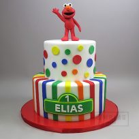 Elmo Two Tier with Polka Dots and Stripes
