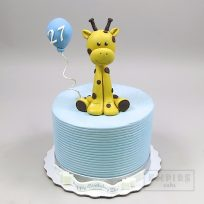 Giraffe with Blue Balloon