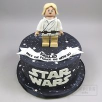 Lego Luke Skywalker on Black Cake