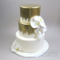Gold Brushwork and Fresh Orchids