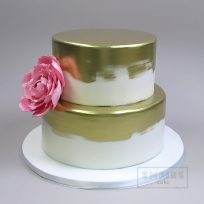 Brushed Gold with Pink Peony