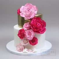 Pink and Fuchsia Sugar Flowers on Two Tiers with Gold
