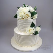 Textured Buttercream and White Roses