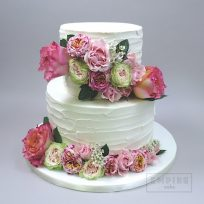 Textured Buttercream with Fresh Flowers in Pinks and Greens