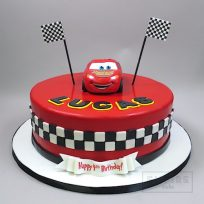 Cars Cake with 3D Lightning McQueen