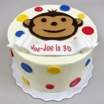 Monkey & Polka Dots with Fondant Banner Inscription