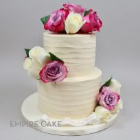 Textured Buttercream with Fuchsia-Purple and White Roses