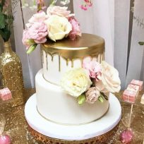 Gold Drip with Fresh Roses (two tier)