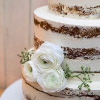 Naked Cake with White Ranunculus