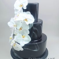 White Orchids on Black Marbleized Fondant