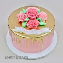 Gold-Painted Drip with Buttercream Roses