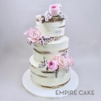 Naked Cake with Pink Roses