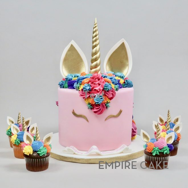 Unicorn with Multicolored Mane and Cupcakes
