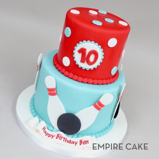 Fine Bowling Birthday Two Tier Empire Cake Personalised Birthday Cards Veneteletsinfo