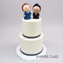Buttercream Two Tier with Gentlemen Toppers