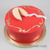 Fortune Cookie on Red Fondant