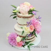 Naked Cake with Peonies