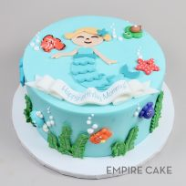 Mermaid with Sea Creatures (flat fondant)