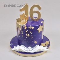 Purple Fondant with Gold Stars and Number Topper