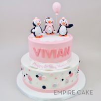 Penguin Trio with Polka Dots (two tier)