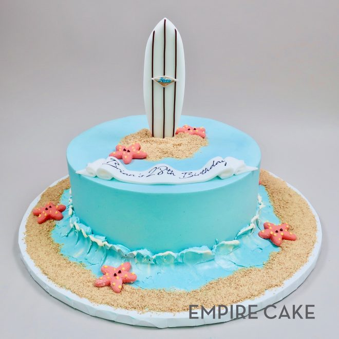 Awesome Surfboard On Buttercream With Beach Empire Cake Personalised Birthday Cards Petedlily Jamesorg