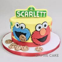 Cookie Monster and Elmo (flat fondant on front of cake)