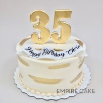 Gold Brushstrokes with Gold Number Topper