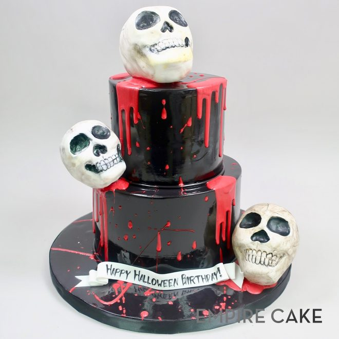 Amazing Halloween Skull Birthday Empire Cake Funny Birthday Cards Online Barepcheapnameinfo