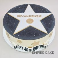 Hollywood Walk of Fame Star in Black, White and Gold (fondant version)