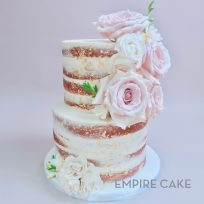 Naked Cake with Fresh Roses and Gold