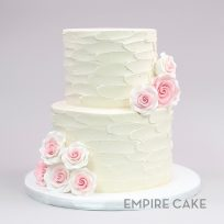 Textured Buttercream and Pink Sugar Roses