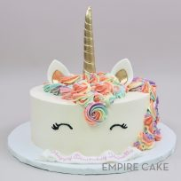 Unicorn with Mane in Pastel Pink, Orange, Yellow, Green, Blue and Purple