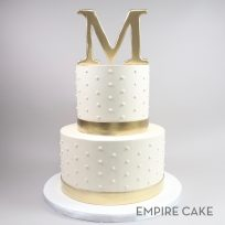 Gold Initial and Bands with Swiss Dots