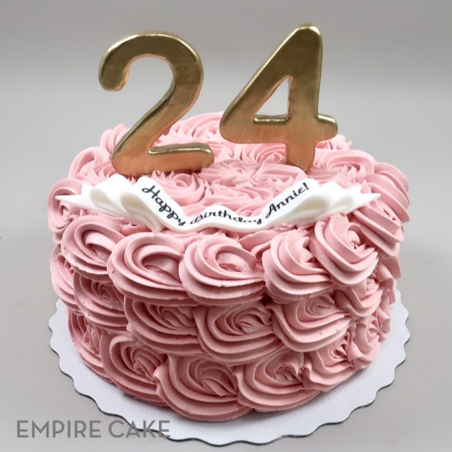 Super Pink Rosettes And Gold Numbers Empire Cake Personalised Birthday Cards Veneteletsinfo