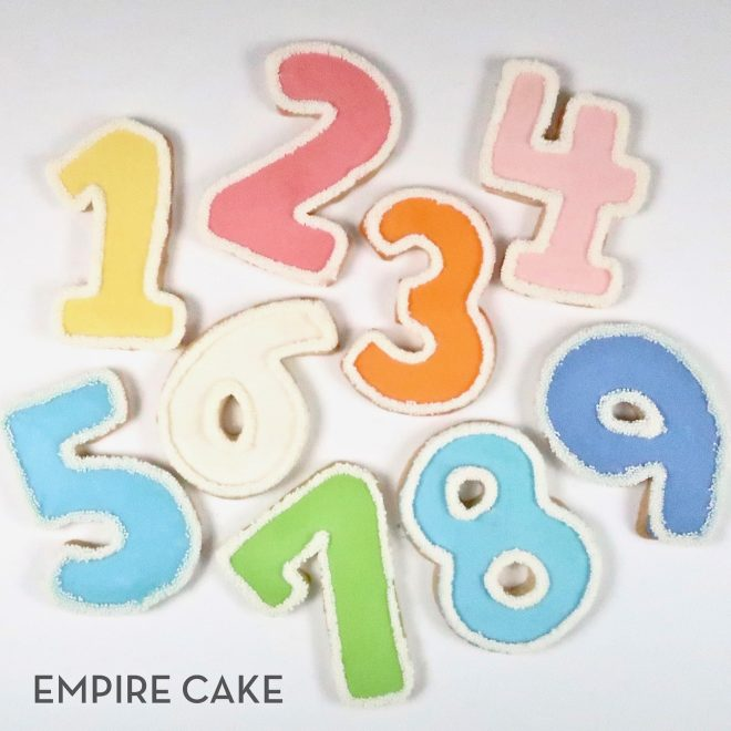Royal Icing and Sprinkle Number Cookies