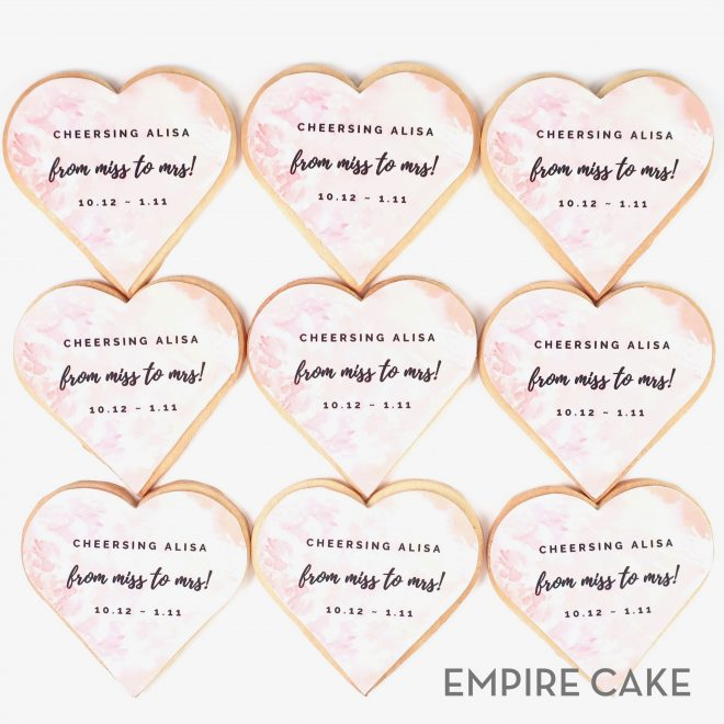 Edible Print Heart Shaped Bridal Shower Cookies