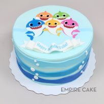 Baby Shark (edible print) with Fondant Waves and Bubbles